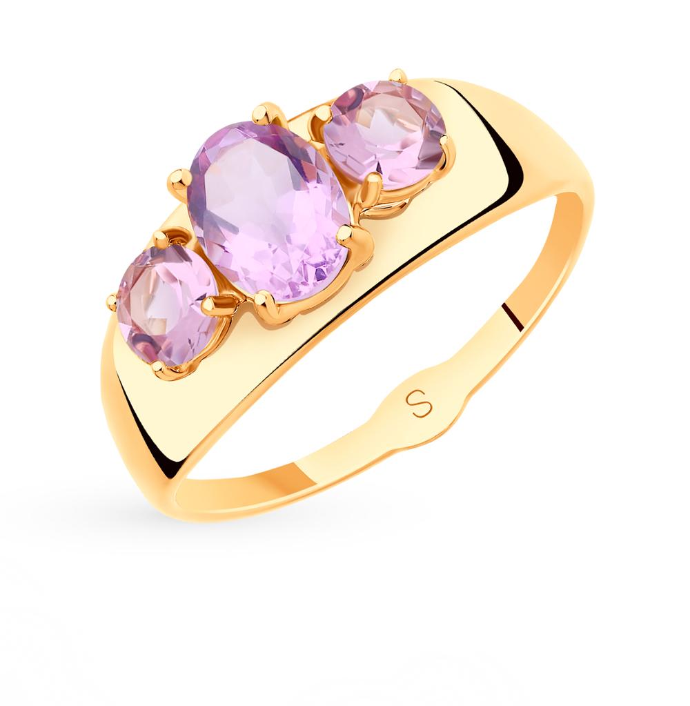 золотое кольцо с аметистом SOKOLOV 715528*