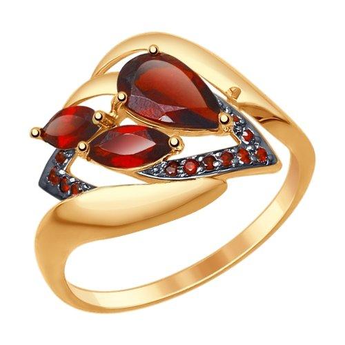 Фото «Золотое кольцо с фианитами и гранатом SOKOLOV 714777*»