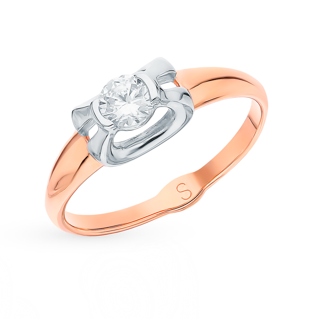 золотое кольцо с фианитами SOKOLOV 018201*