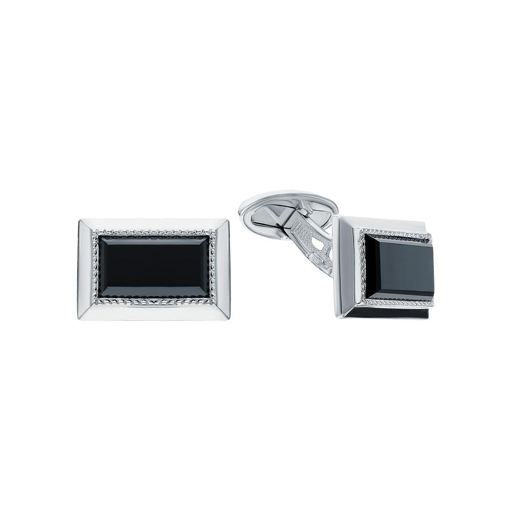 Серебряные запонки с фианитами в Екатеринбурге