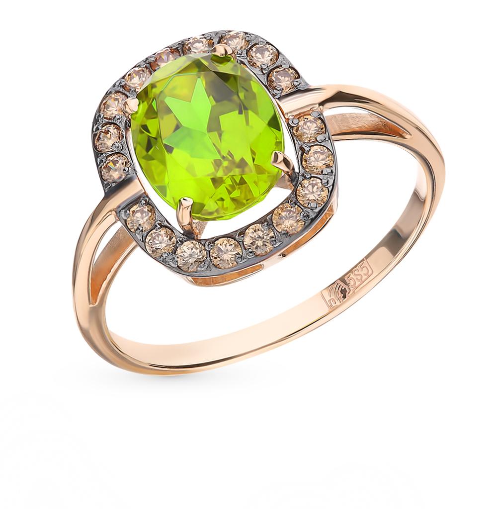 Фото «Золотое кольцо с султанитом и фианитами»