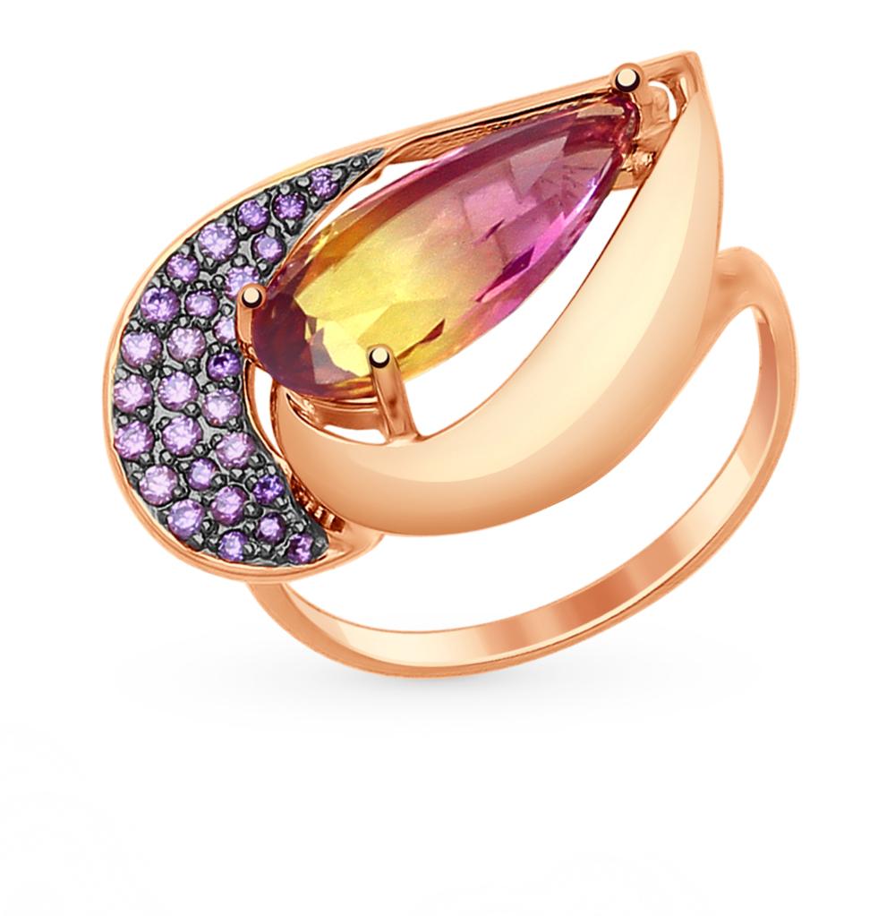Фото «Золотое кольцо с аметрином и фианитами SOKOLOV 714807*»