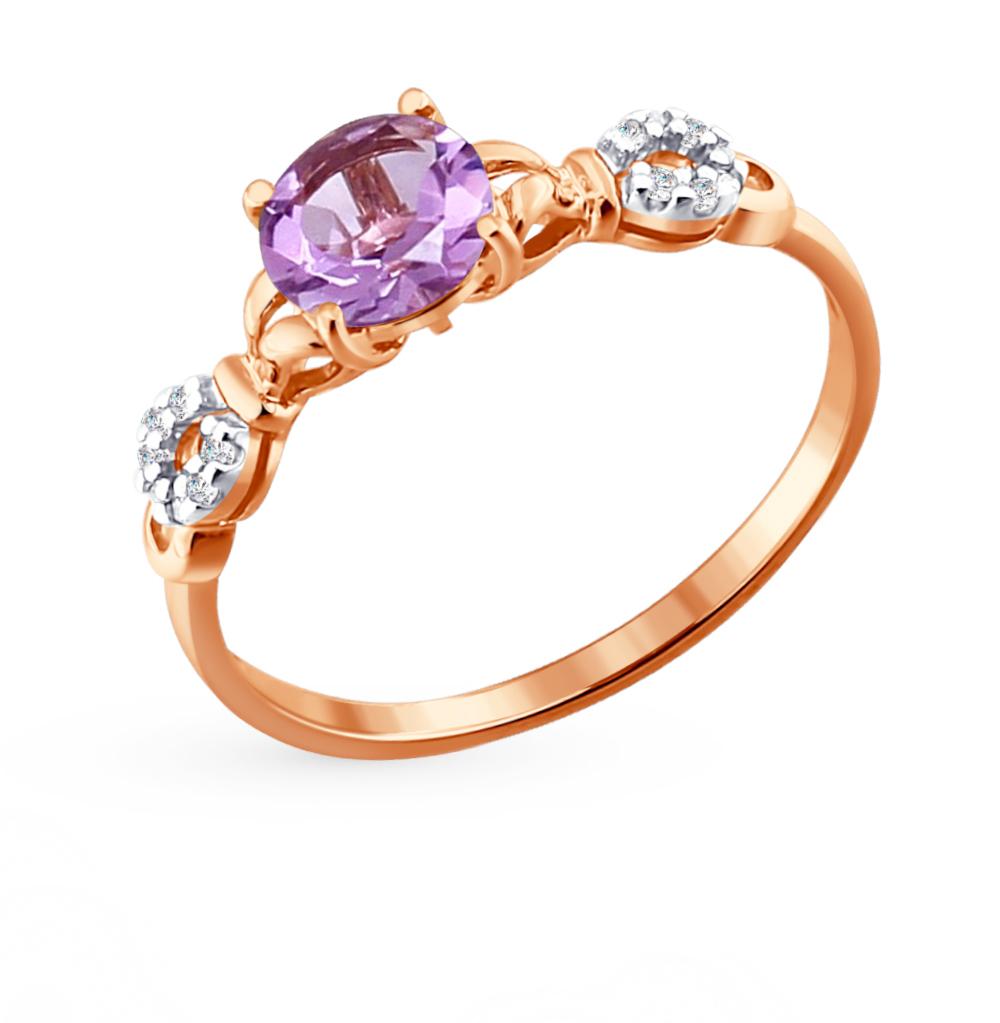 золотое кольцо с аметистом и фианитами SOKOLOV 713810*