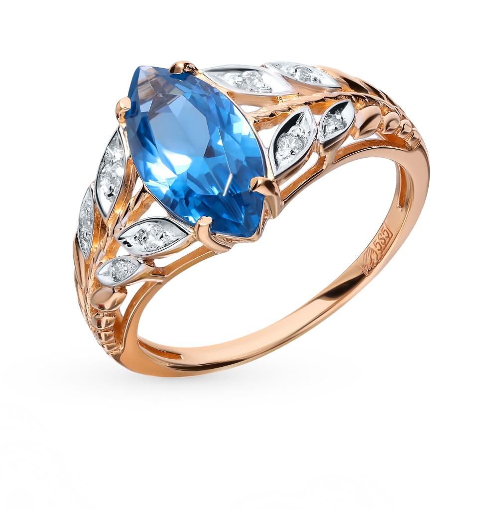 Золотое кольцо со шпинелью и фианитами в Екатеринбурге