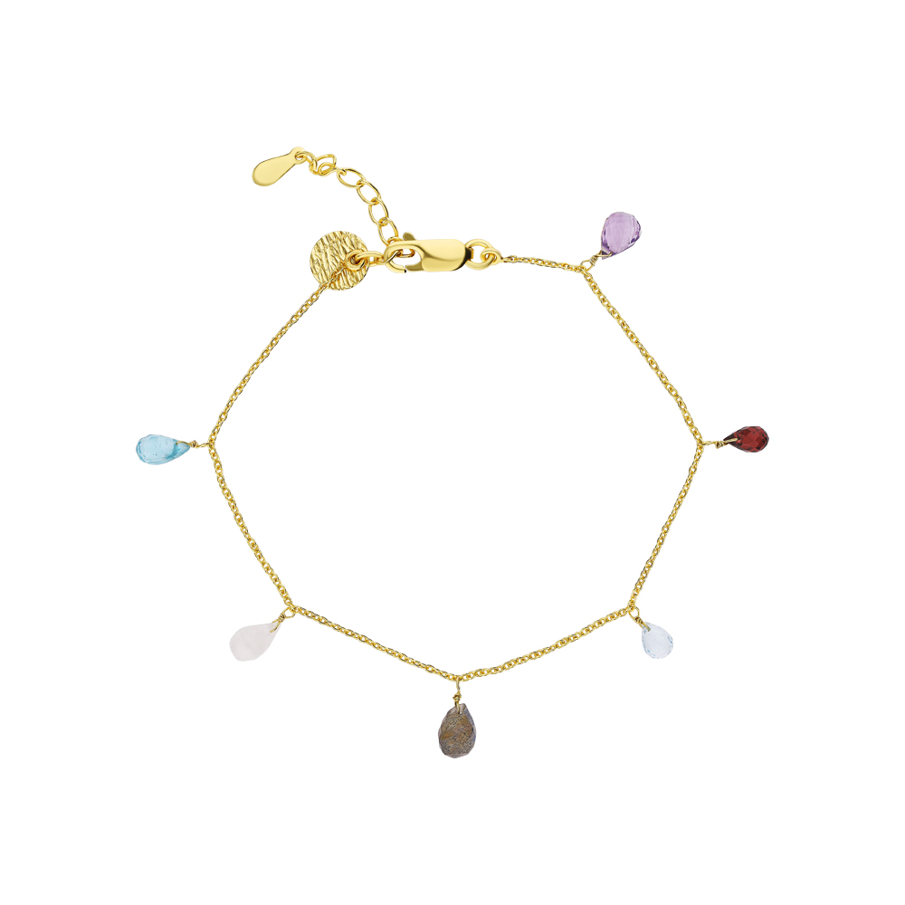 Фото «Серебряный браслет с аметистом, топазами, гранатом, лабрадоритами и лунными камнями»