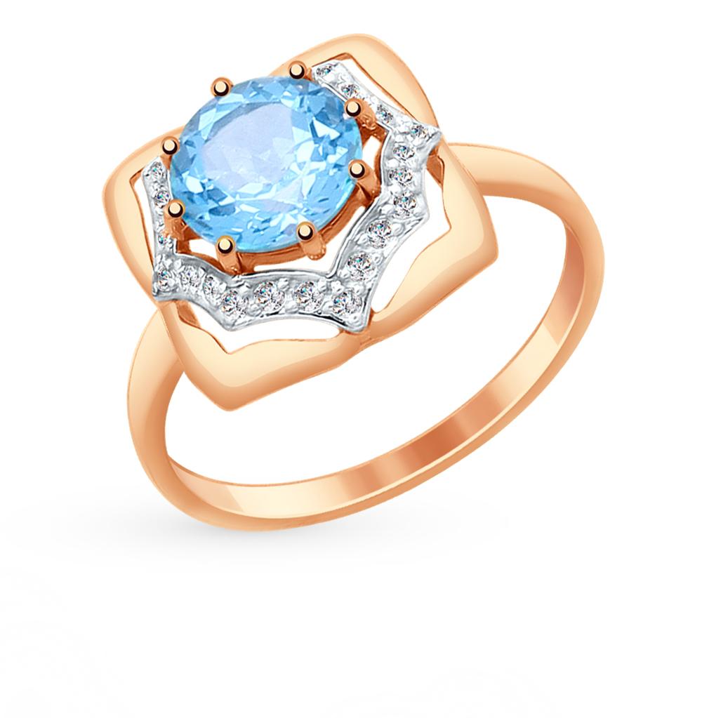 золотое кольцо с топазами и фианитами SOKOLOV 714871*