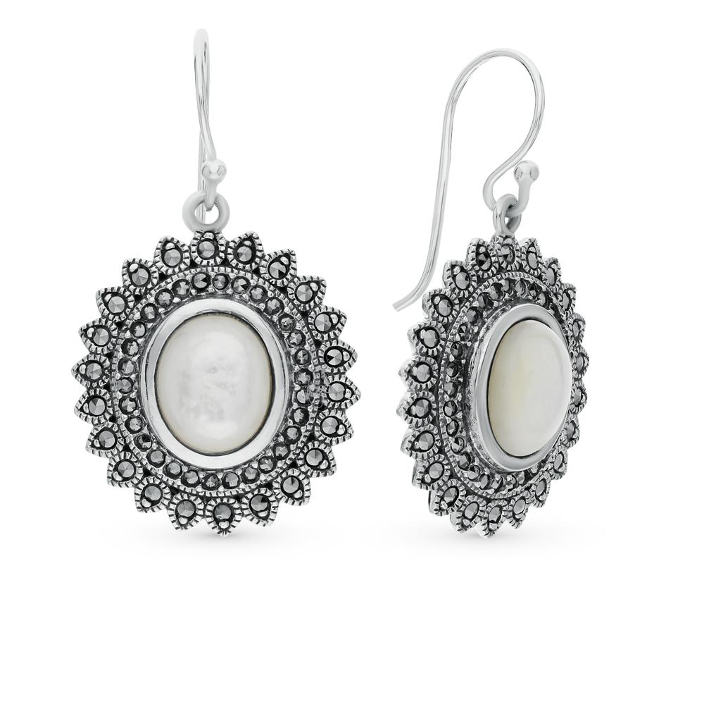 Фото «серебряные серьги с марказитами и перламутром»