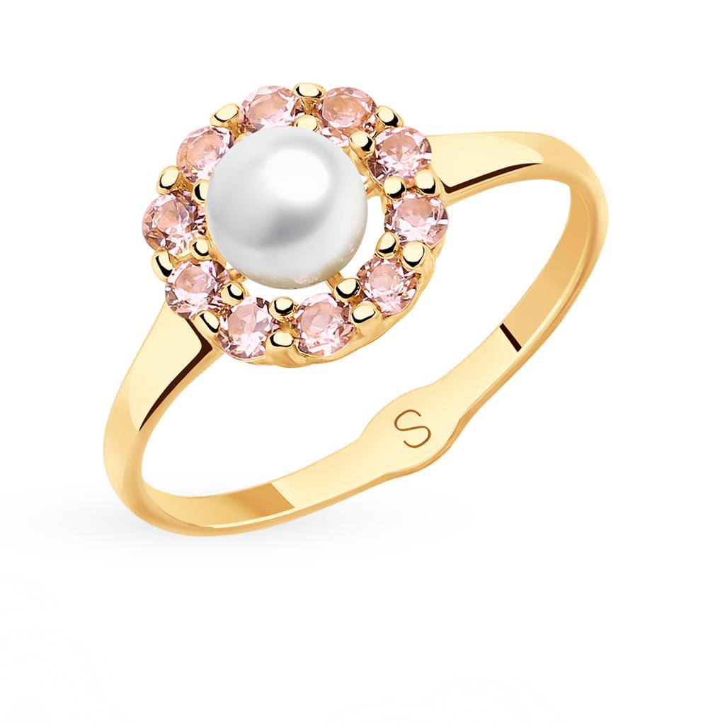 Фото «Золотое кольцо с жемчугом и ситаллами SOKOLOV 791111*»