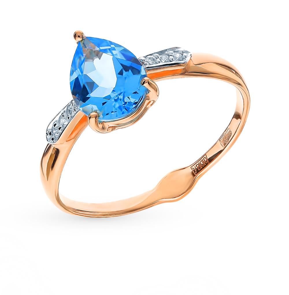 золотое кольцо с топазами и фианитами SOKOLOV 715341*