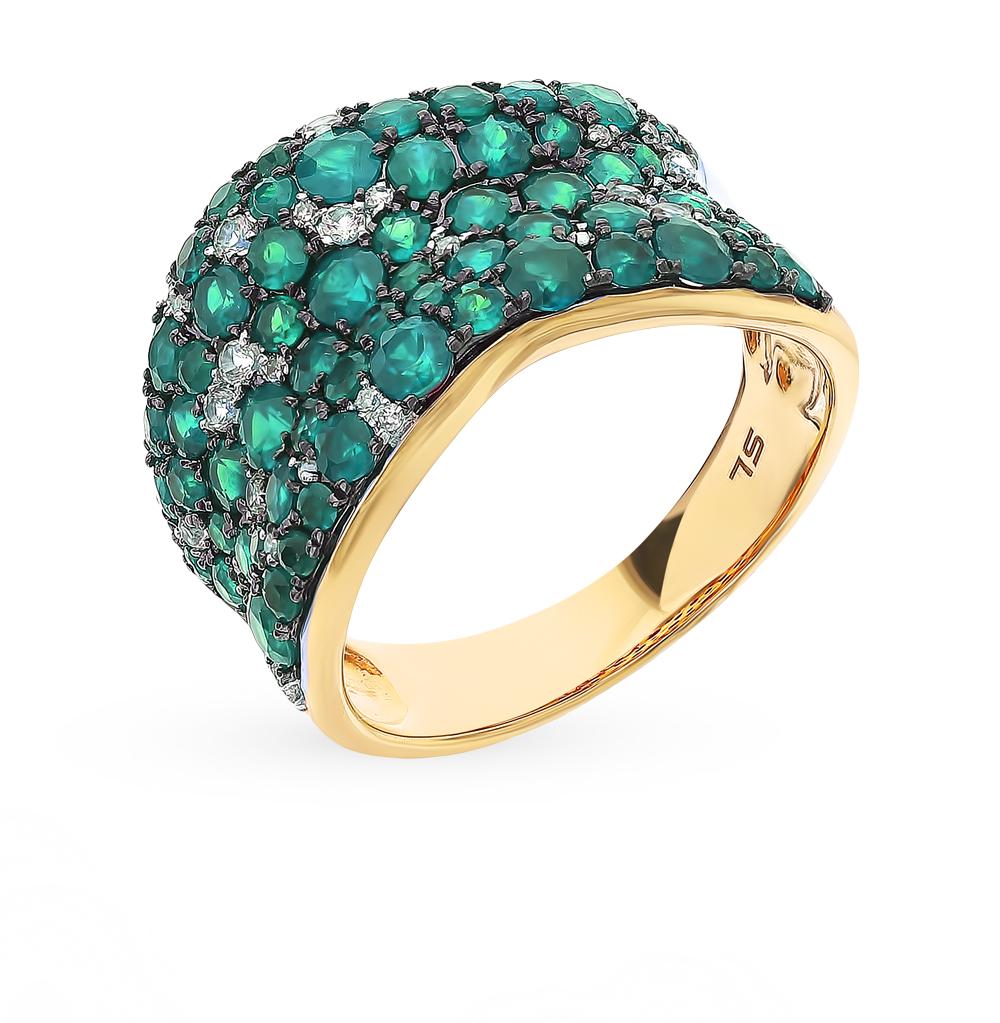 Золотое кольцо с сапфирами, изумрудами и бриллиантами в Екатеринбурге