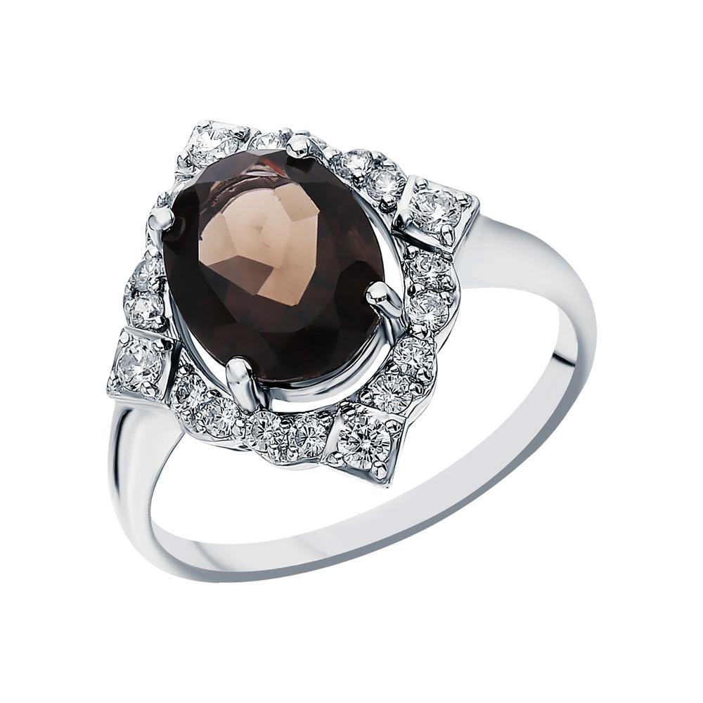 Фото «Серебряное кольцо с фианитами и кварцами дымчатыми»