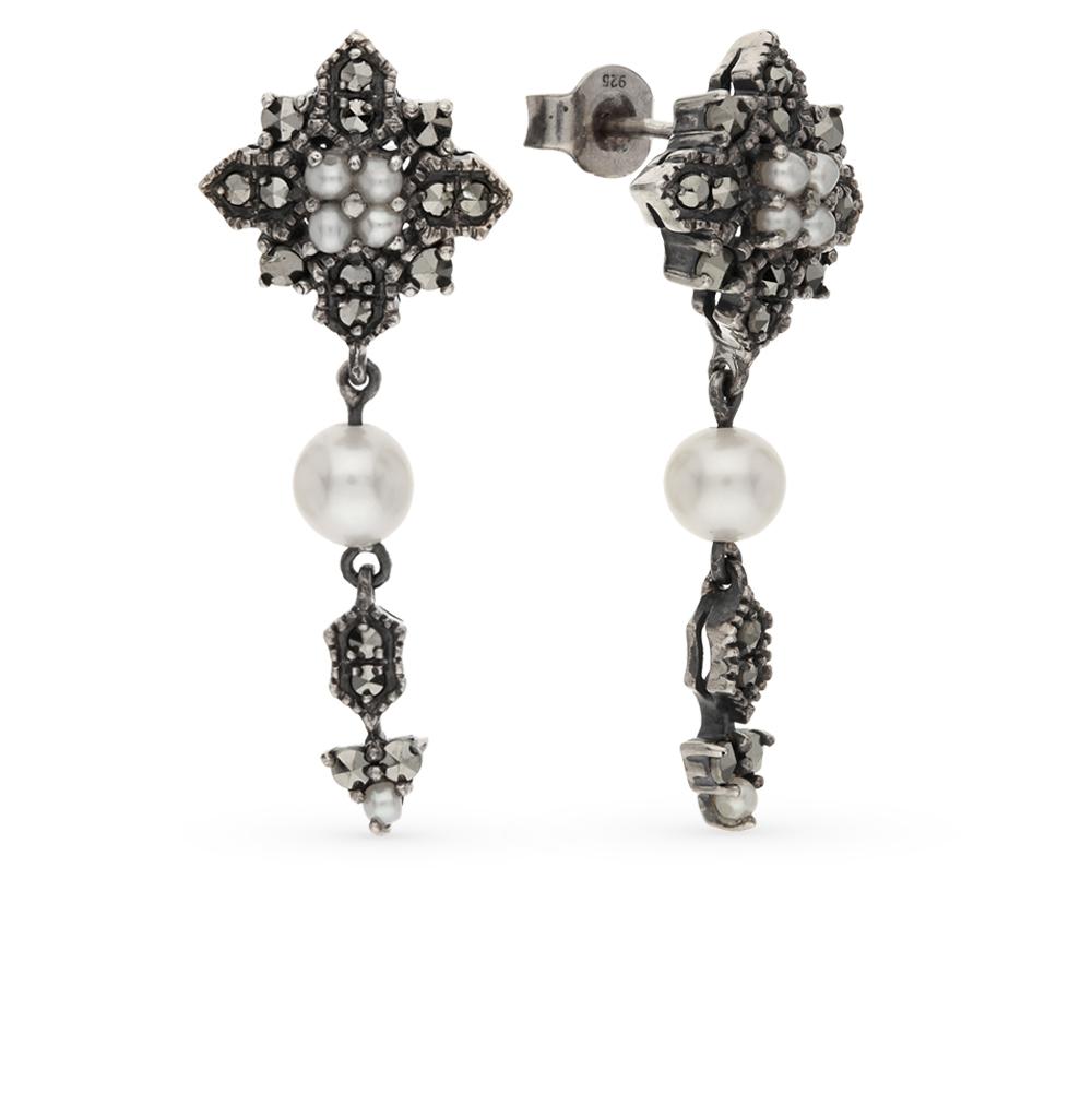Фото «серебряные серьги с марказитами и жемчугом»