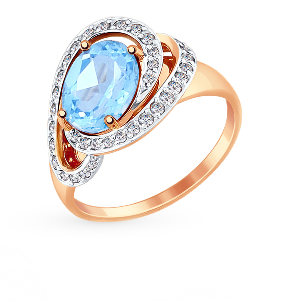Фото «Золотое кольцо с топазами и фианитами SOKOLOV 714891*»