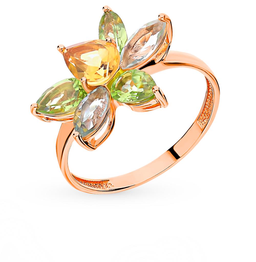 Фото «Золотое кольцо с хризолитом, аметистом и цитринами»
