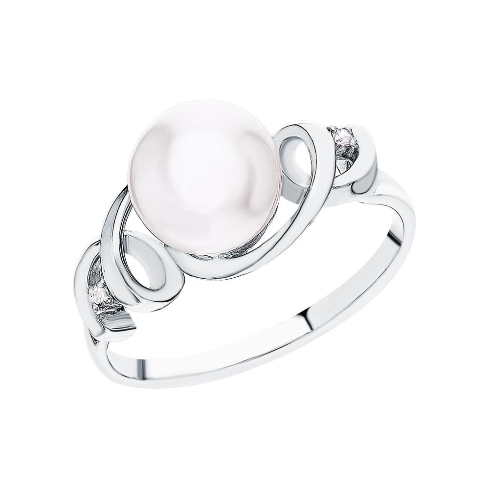 Фото «Серебряное кольцо с жемчугами имитациями и кубическим цирконием»