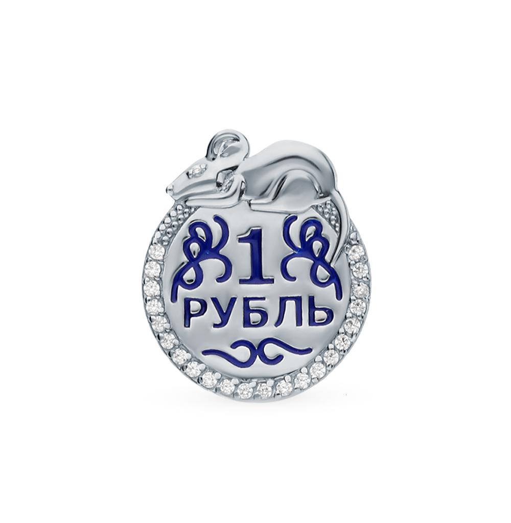 Фото «Серебряная монета с фианитами и эмалью»