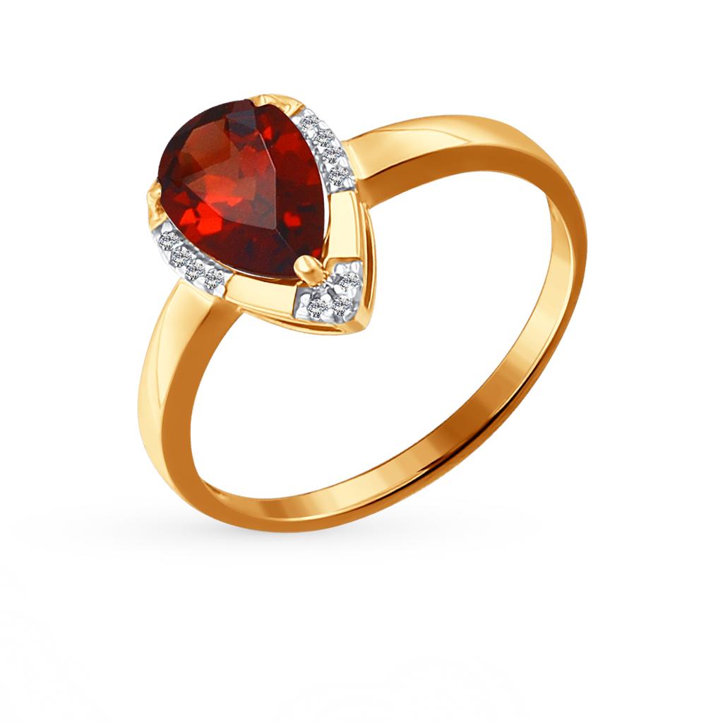 золотое кольцо с фианитами и гранатом SOKOLOV 713879*