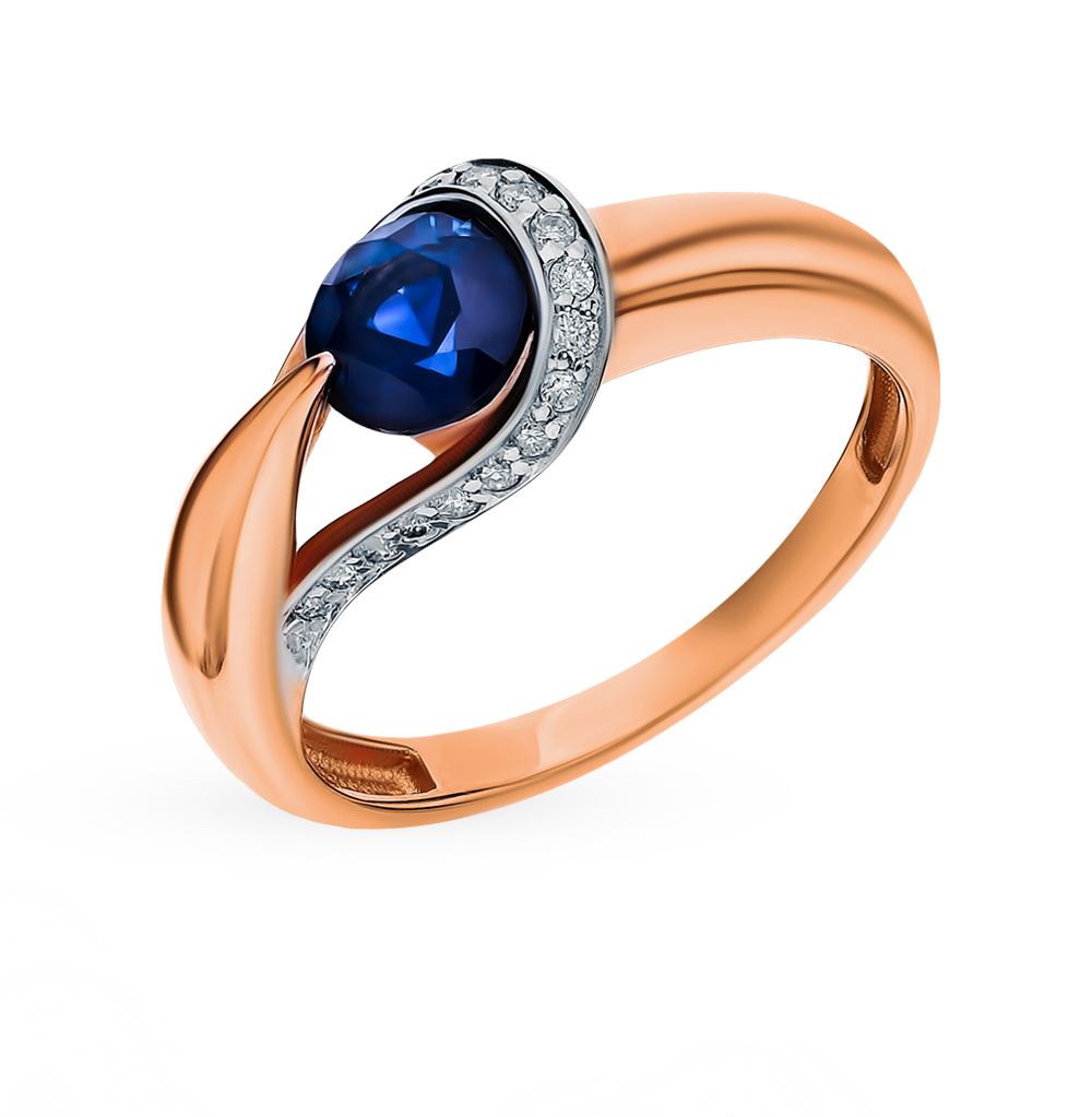 Золотое кольцо с сапфиром и бриллиантами в Санкт-Петербурге