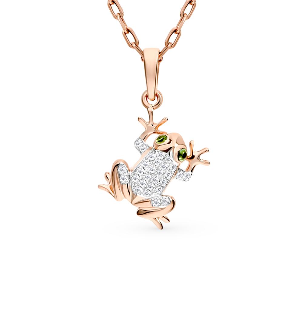 золотая подвеска с цаворитами и бриллиантами