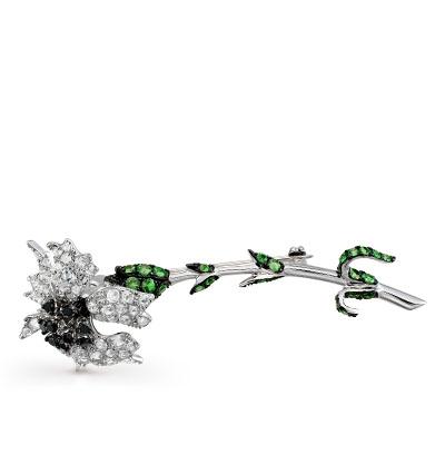Фото «Золотая брошь с топазами, гранатом и бриллиантами»