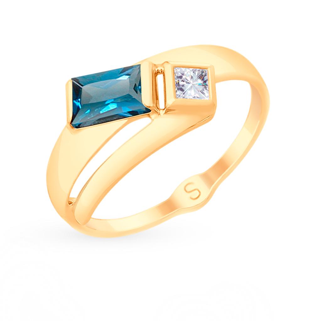 золотое кольцо с топазами и фианитами SOKOLOV 715154*