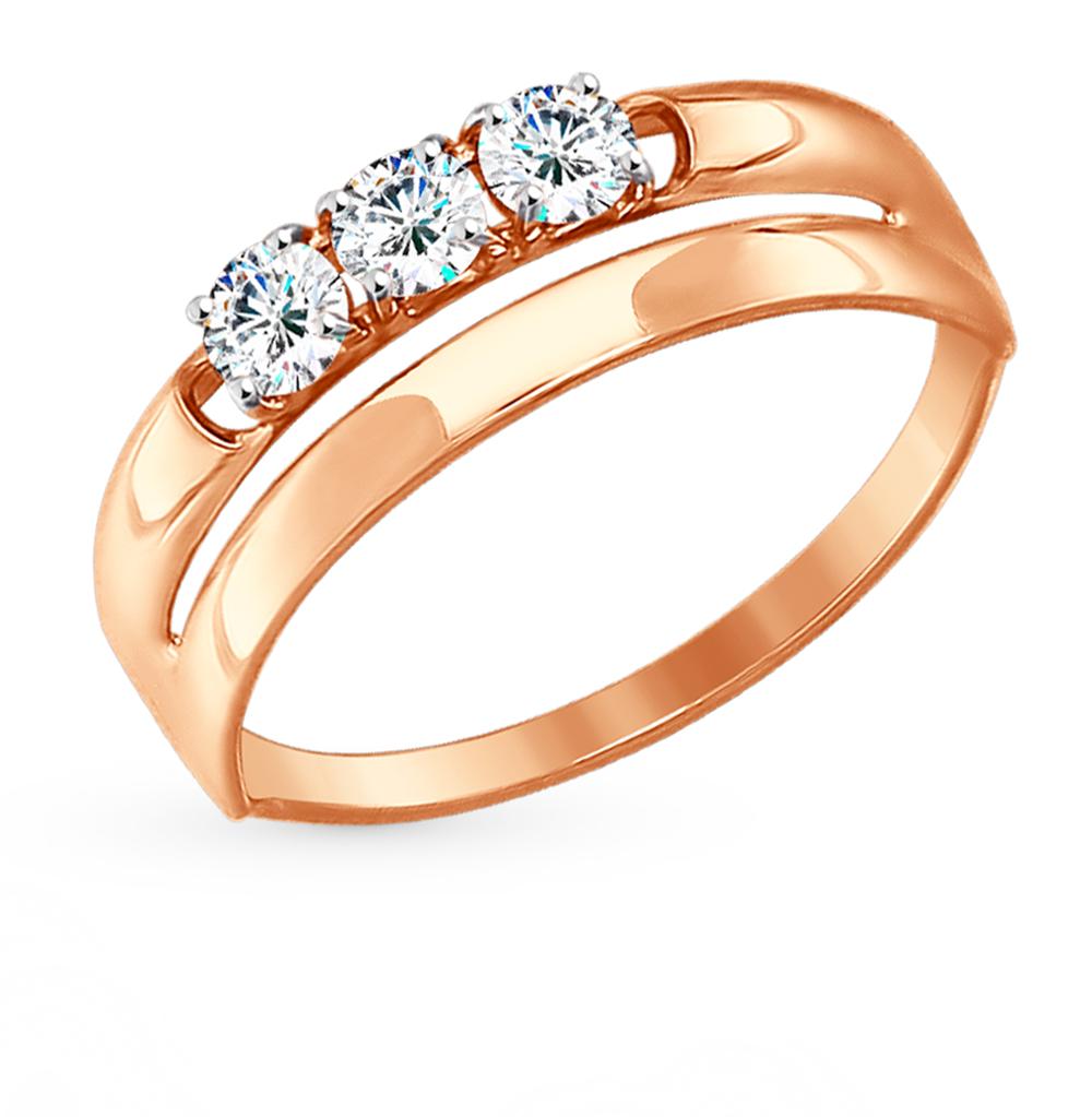 золотое кольцо с фианитами SOKOLOV 81010287*