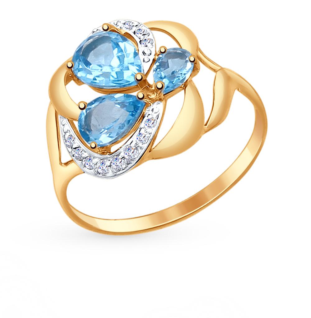 Фото «Золотое кольцо с топазами и фианитами SOKOLOV 714754*»