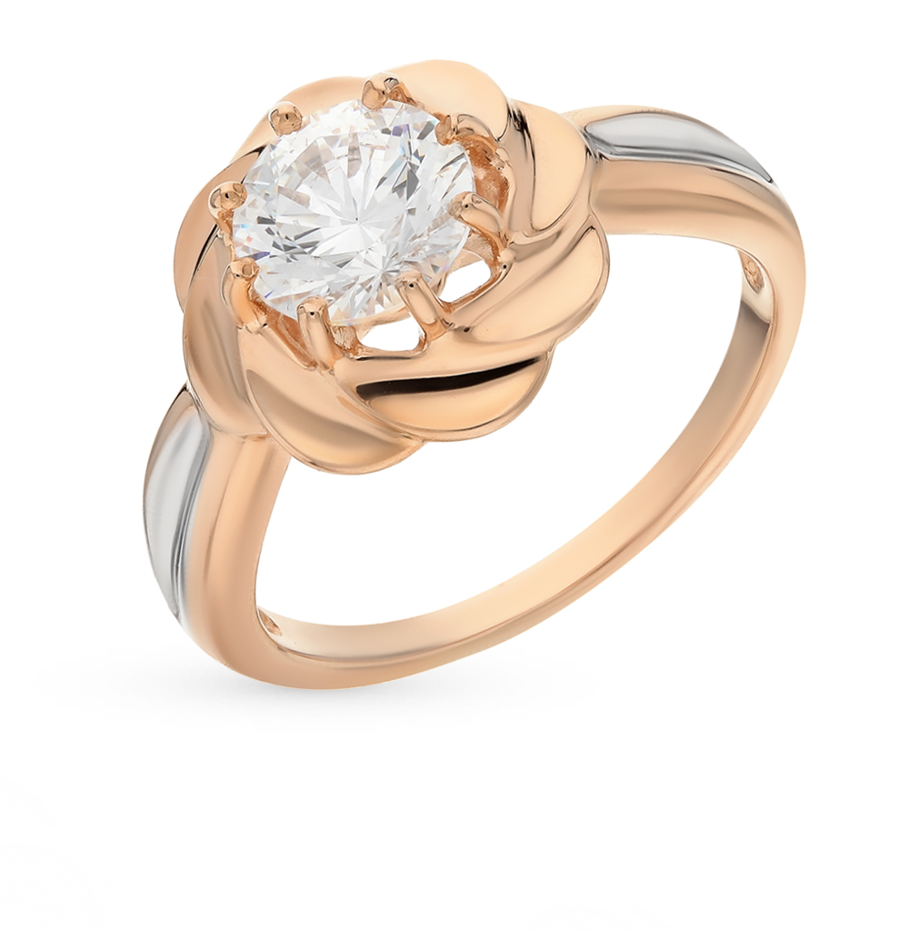 золотое кольцо с фианитами SOKOLOV 81010165*