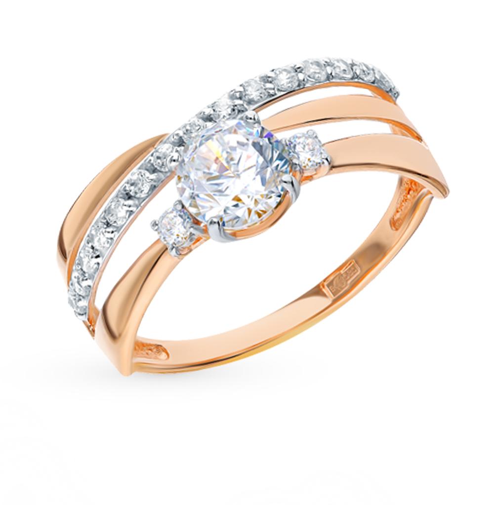 золотое кольцо с фианитами SOKOLOV 016918*