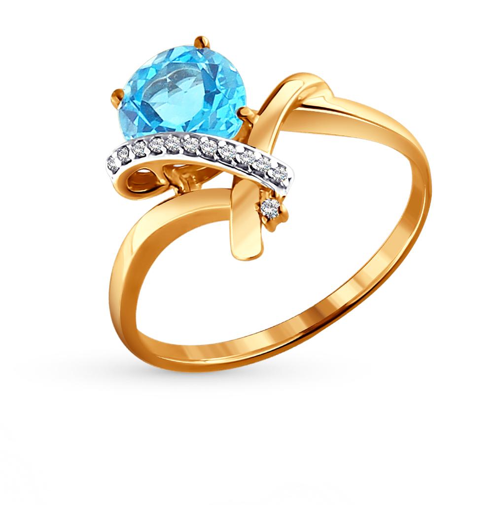 Фото «Золотое кольцо с топазами и фианитами SOKOLOV 713912*»