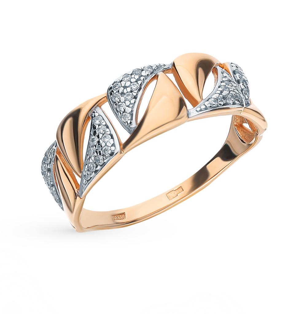 золотое кольцо с фианитами SOKOLOV 015805