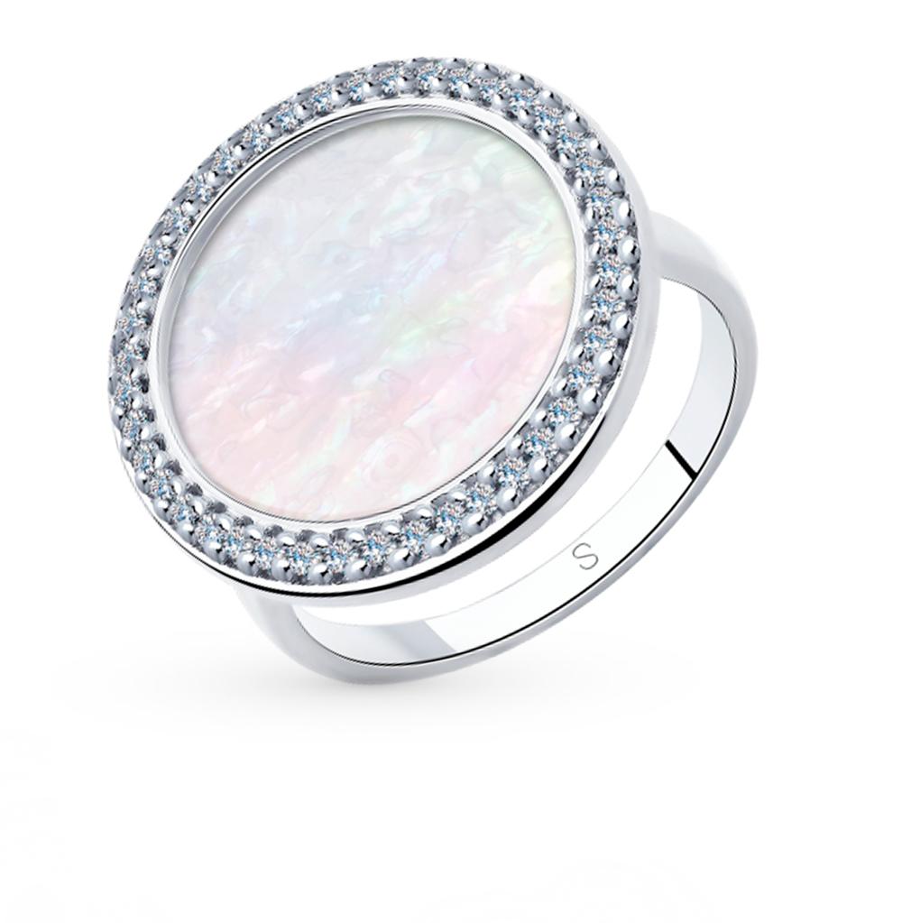 Фото «Серебряное кольцо с фианитами и перламутром SOKOLOV 94013021»