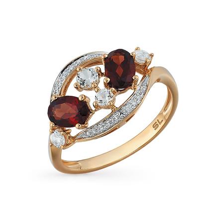Золотое кольцо с топазами, гранатом и бриллиантами в Санкт-Петербурге