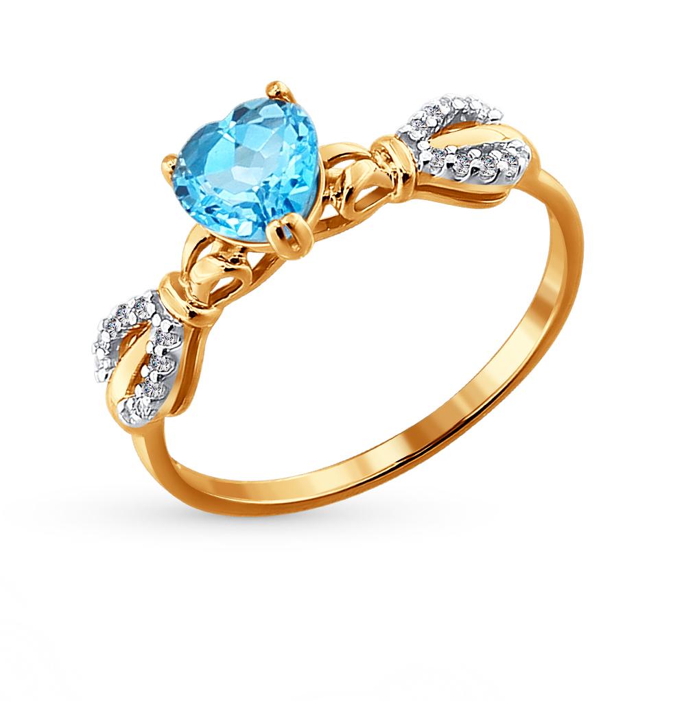 Фото «Золотое кольцо с топазами и фианитами SOKOLOV 713811*»
