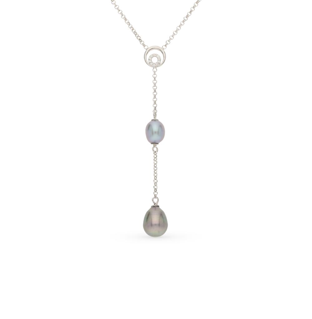 Фото «серебряное шейное украшение с фианитами и жемчугом»