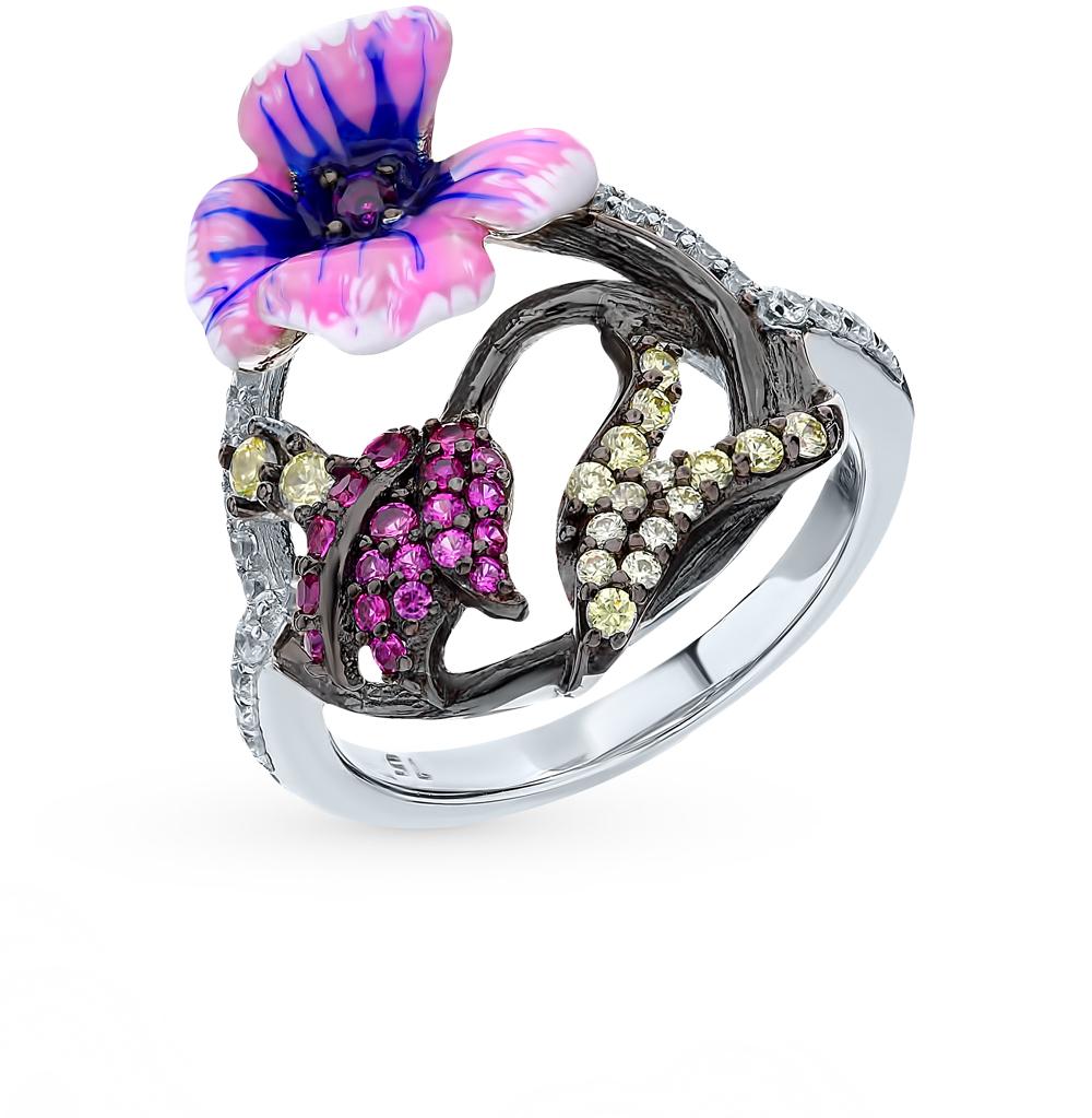 серебряное кольцо с корундом, фианитами и эмалью
