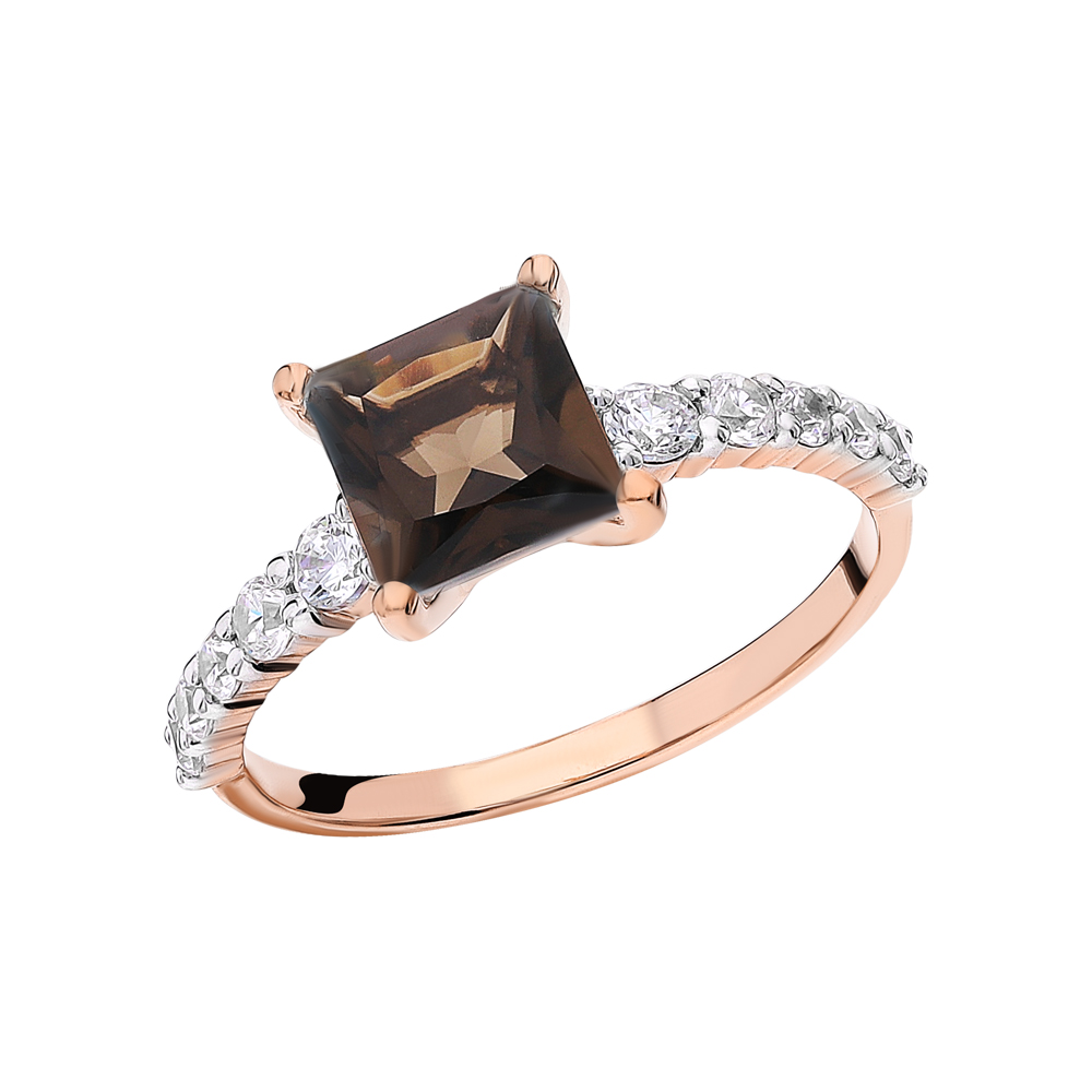 Золотое кольцо с фианитами и кварцами дымчатыми в Екатеринбурге