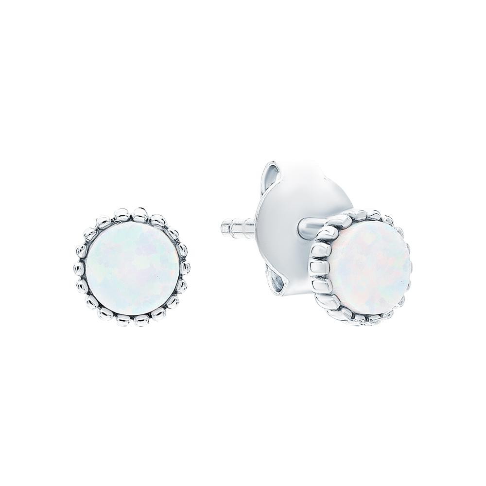 Фото «Серебряные серьги с опалами имитациями»