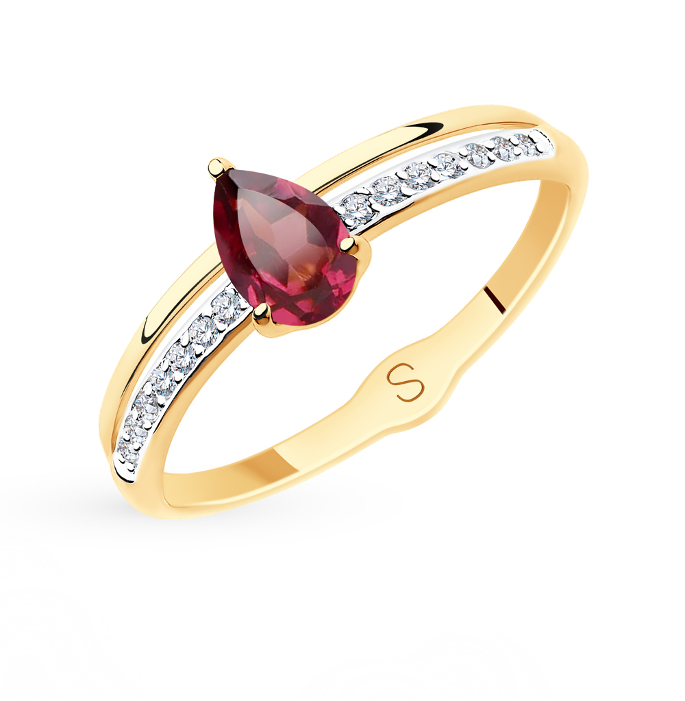 Золотое кольцо с родолитами и фианитами SOKOLOV 715585* в Екатеринбурге
