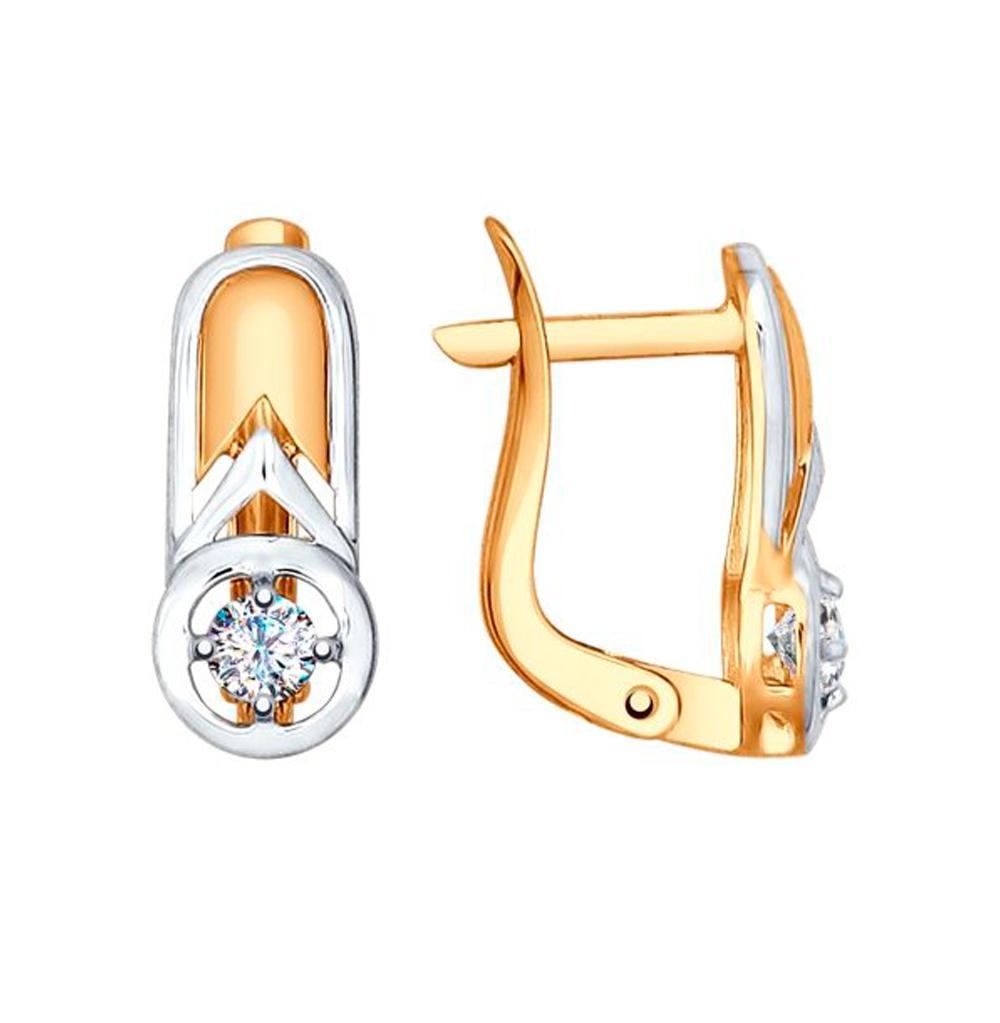 Фото «Золотые серьги с фианитами SOKOLOV 027509*»
