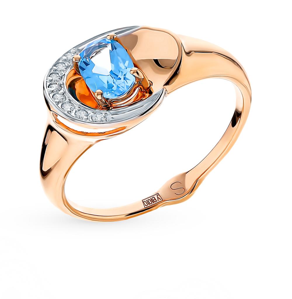 Фото «Золотое кольцо с топазами и фианитами SOKOLOV 715131*»