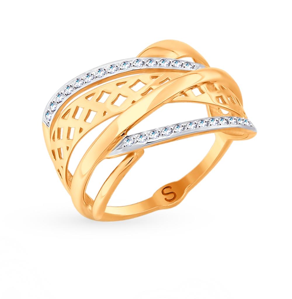 золотое кольцо с фианитами SOKOLOV 017721