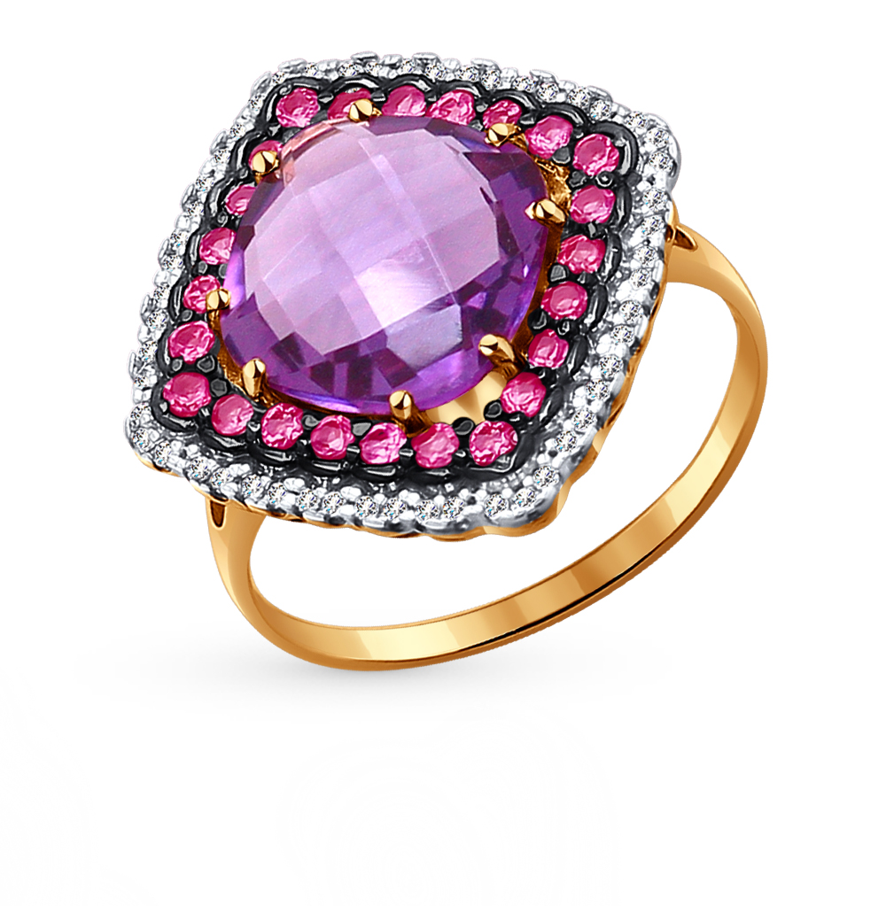 Фото «золотое кольцо с аметистом, фианитами и родолитами»