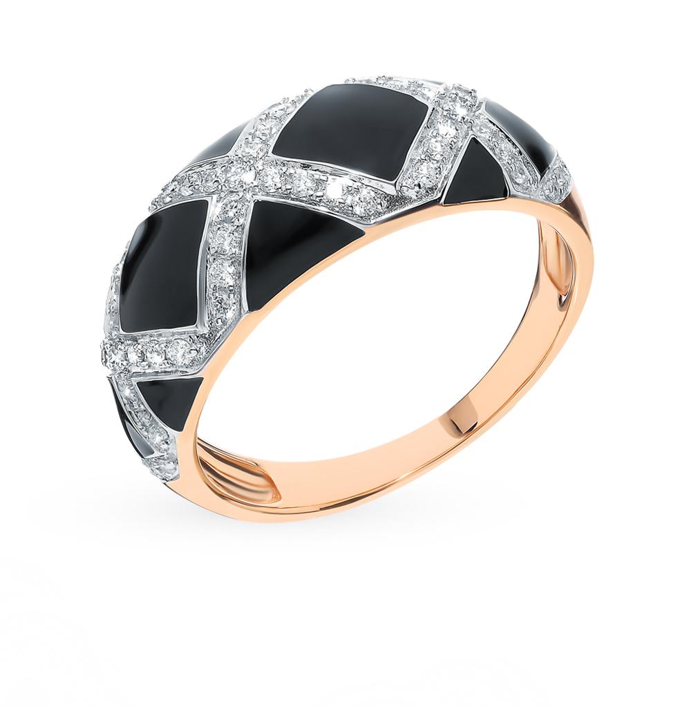 Золотое кольцо с эмалью и бриллиантами в Екатеринбурге