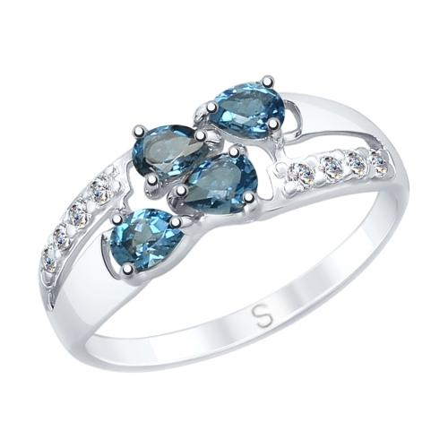 Фото «Серебряное кольцо с топазами и фианитами SOKOLOV 92011646»