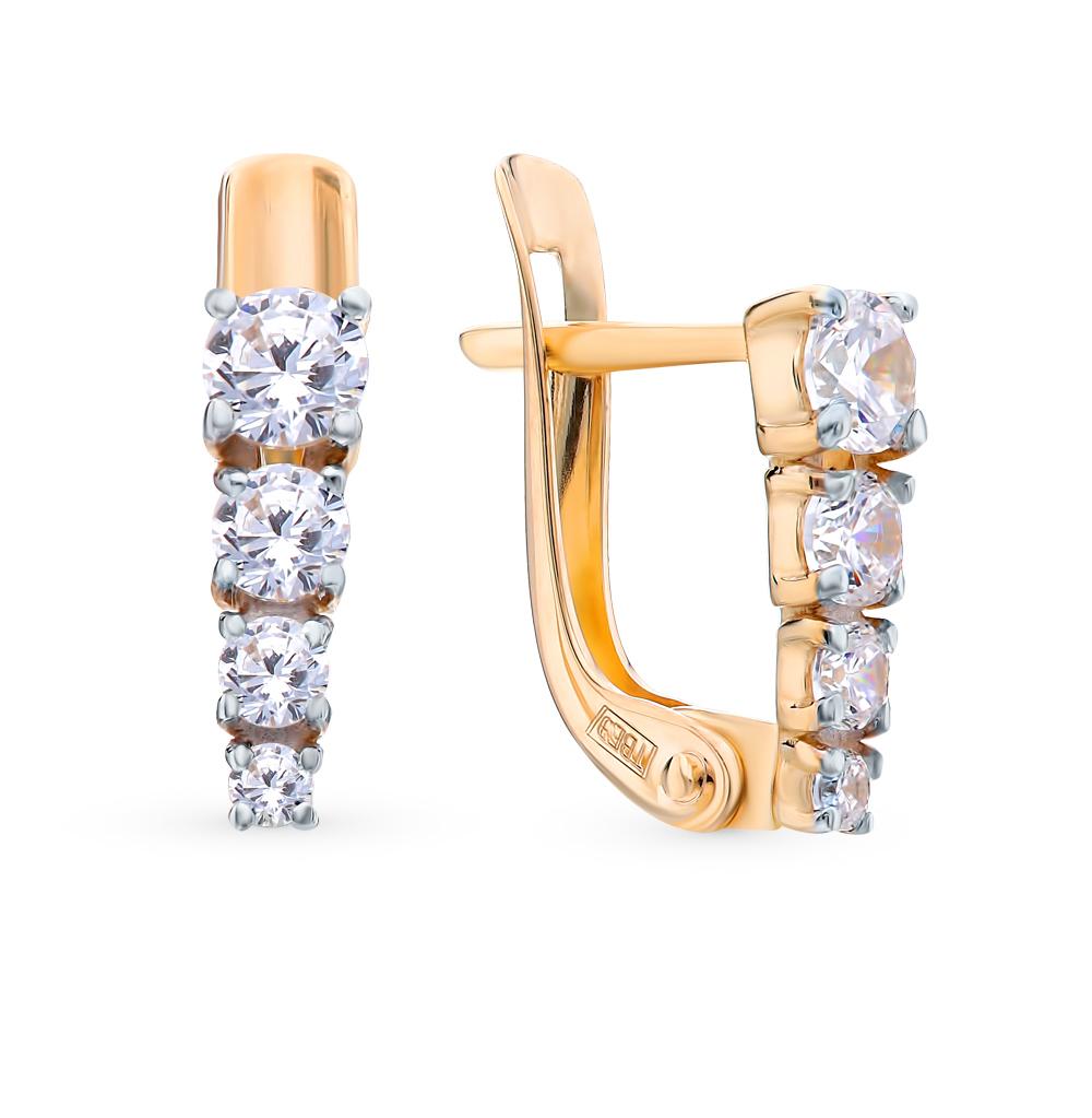 золотые серьги с фианитами SOKOLOV 027455*