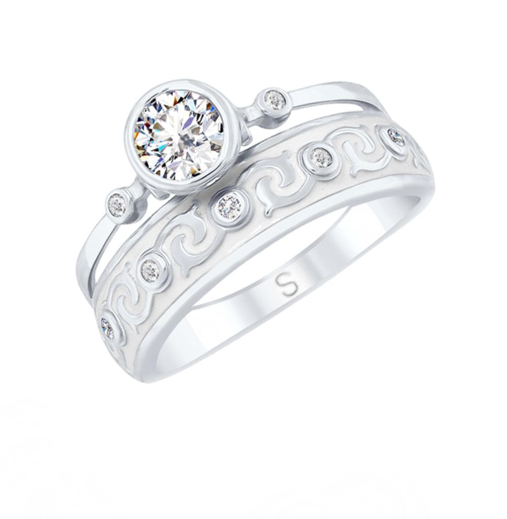 серебряное кольцо с горным хрусталем, фианитами и эмалью SOKOLOV 92011628
