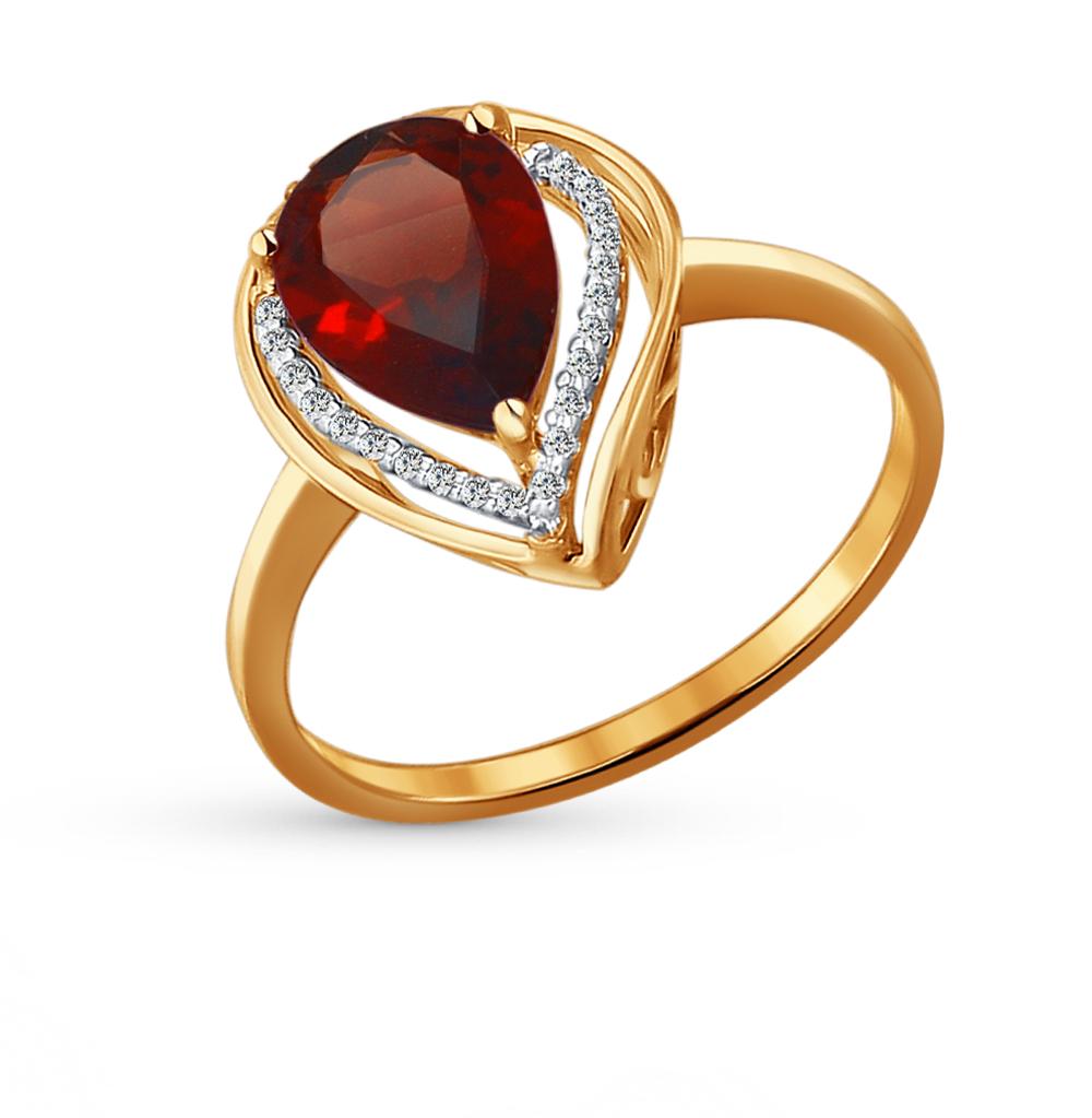 Фото «Золотое кольцо с фианитами и гранатом SOKOLOV 713929»