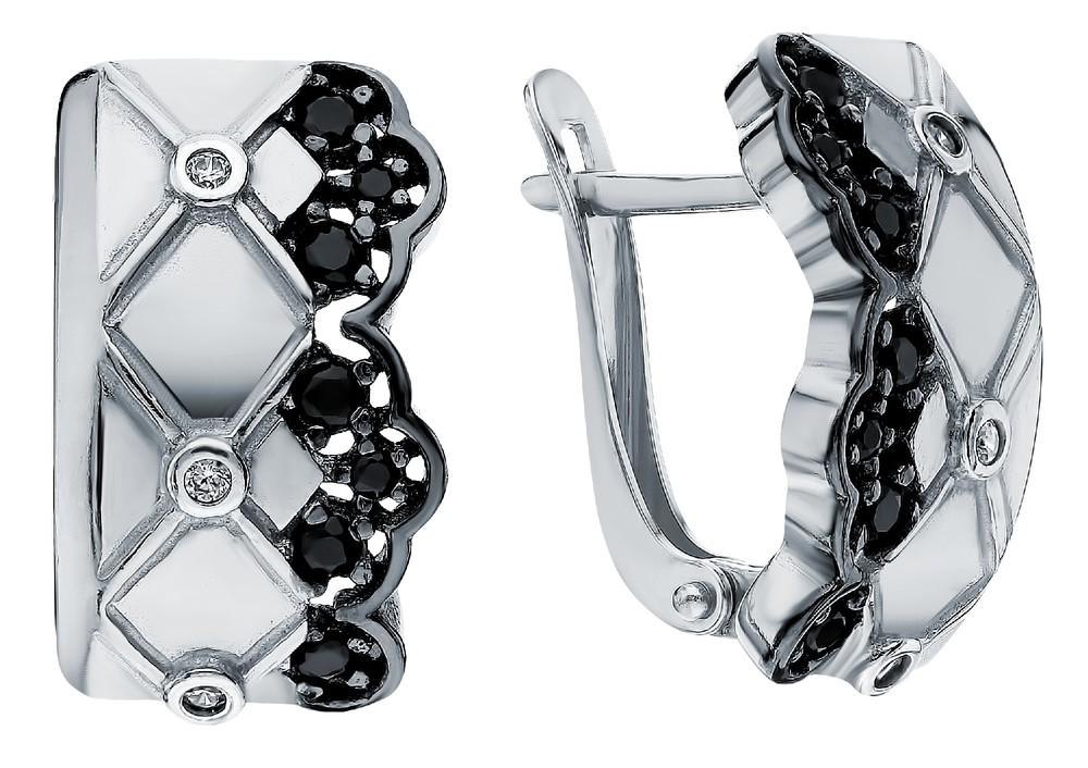 Серебряные серьги с нанокристаллами, со шпинелью и фианитами в Екатеринбурге