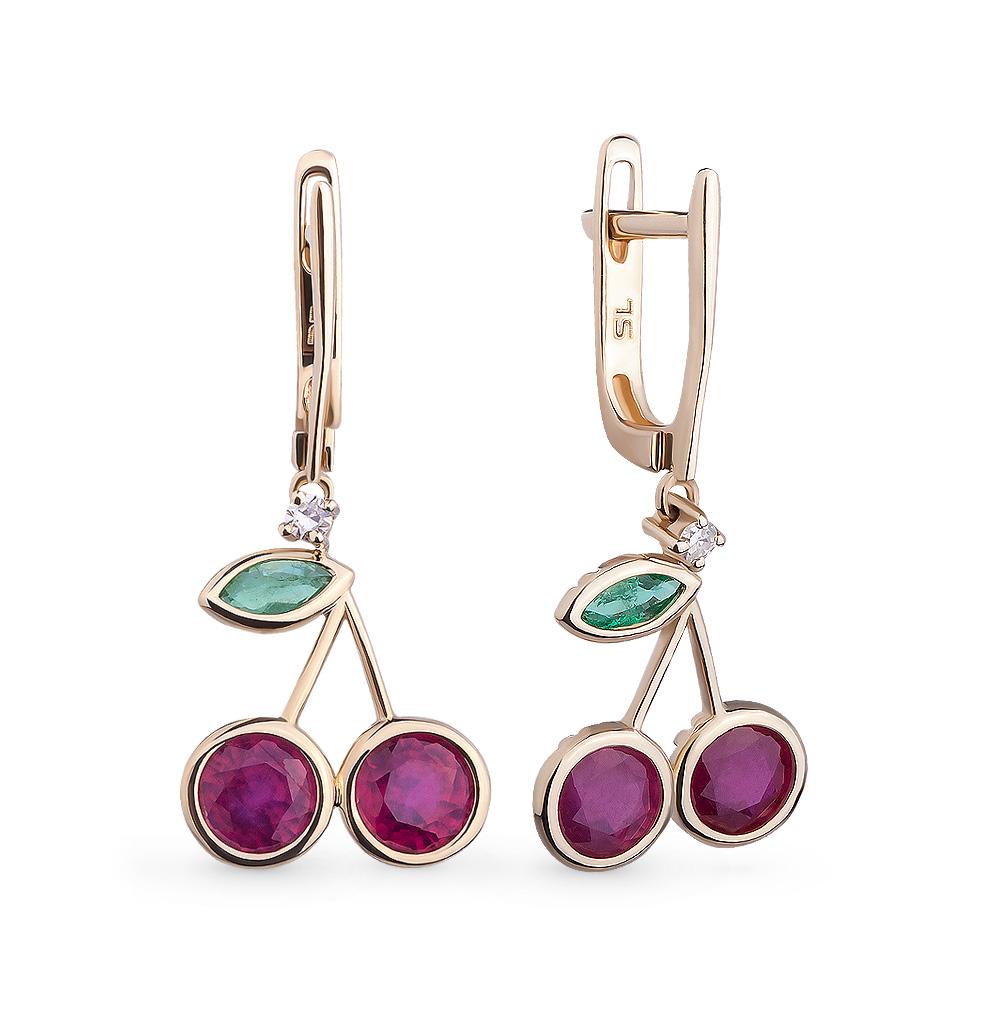 Фото «золотые серьги с изумрудами, рубинами и бриллиантами»